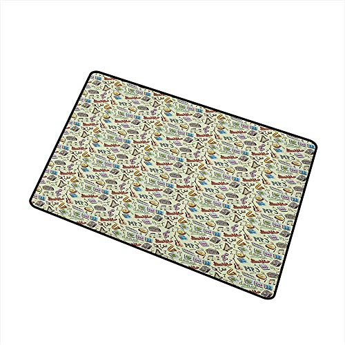 (Music Welcome Doormat Drums Fun Keyboard Icons Guitar Tempo Harp MP3 Playing Boombox Gjettoblaster Graphic All Season Universal 24