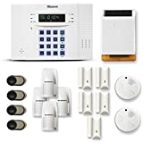 Alarme maison sans fil DNB 4 à 5 pièces mouvement + intrusion + détecteur de fumée + sirène extérieure solaire - Compatible Box internet et GSM