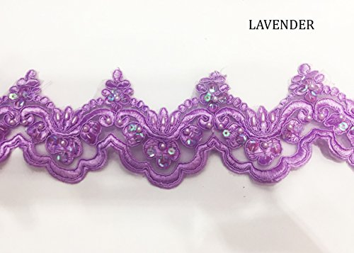 Beaded Lace Trim Sequinned Ribbon Vintage Decorative Wedding/Bridal DIY Craft Sewing Coloured Fabric (Lavender, 5 Yards)
