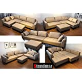 STENDMAR New 4pc multi-functional Sectional Sofa in Taupe Microfiber Fabric S160T