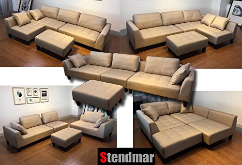 - New 4pc Multi-Functional Sectional Sofa in Taupe Microfiber Fabric S160T