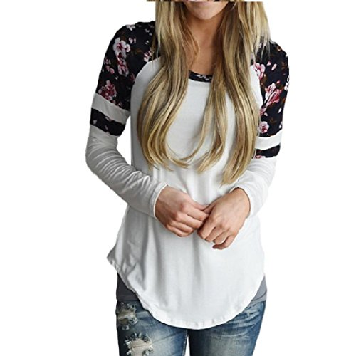 Women Floral Splice Shirt, Misaky Long Sleeve Round Neck Pullover Blouse (XL, White)