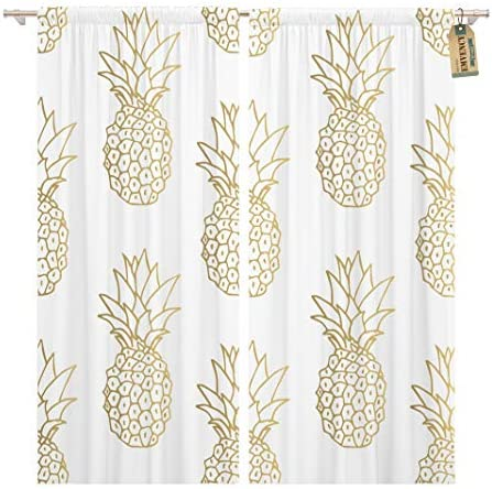 Golee Window Curtain Green Pattern Gold Pineapple Yellow Tropical Golden Fruit White Home Decor Pocket Drapes 2 Panels Curtain 104 x 96 inche