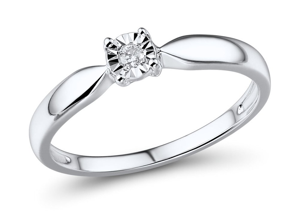 Diamond Promise Ring in Rhodium Plated 10k White Gold 1/10th ct