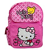 Sanrio Hello Kitty Pink 16″ Large Backpack School Bag with Bear Apple (JoyAve), Bags Central