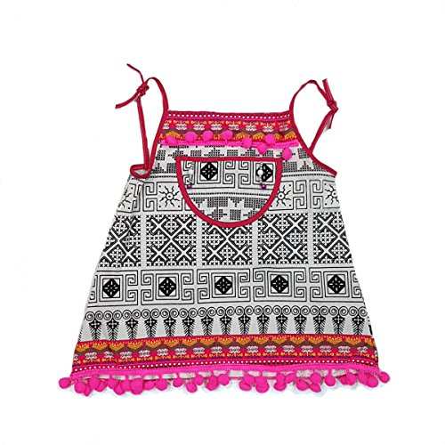 ARTIIDCO Beautiful Woven Cotton Ethnic Thai Girl Dress with Embroidered Details and Colorful Pompoms 1 to 2 Year ()