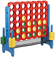 ECR4Kids Jumbo 4-to-Score Giant Game Set with Carry Bag and Ring Net, Backyard Games for Kids, Indoor or Outdo