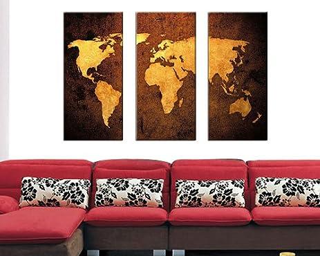 Sangu 100% Hand Painted Wood Framed 3 Piece Hot Sale Brown World Map Oil Part 56