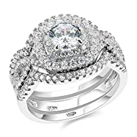 Newshe 3pcs 2CT Round Cut White Cz 925 Sterling Silver Wedding Engagement Ring Set Size 5-10 from Newshe Jewellery