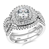 Newshe Engagement Wedding Ring Set For Women 925 Sterling Silver 3pcs 2CT White AAA Cz Size 7