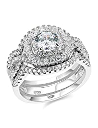 Newshe 3pcs 2CT Round Cut White Cz 925 Sterling Silver Wedding Engagement Ring Set Size 5-10