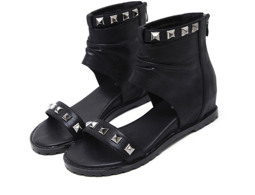 NVLXIE Damen Sandalen Sommer Poe Rom Niet Cool Stiefel Dew Toe Studenten Schul Shopping Zwei Farben 5cm  38|black