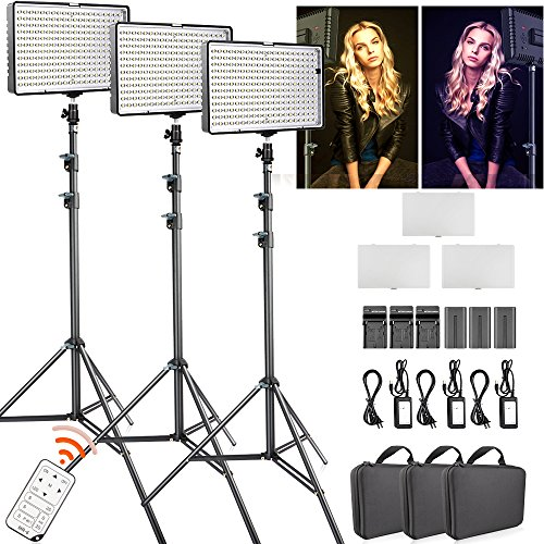 - FOSITAN Dimmable Bi-Color 336 LED Video Light with 75 inch Light Stand Including (3) Battery and (3) Charger, CRI 96+ 3200K-5600K Photography Lighting kit for Studio Video Shooting (3 Packs)