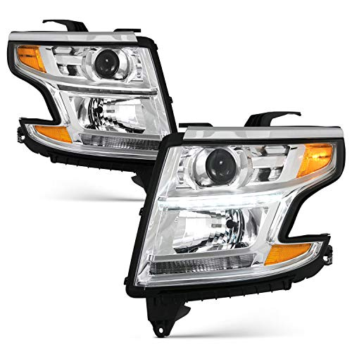 Fits 2015-2017 Chevy Suburban 15-17 Tahoe LED Projector Chrome Headlights [Halogen Type] w/Amber Signal Left+Right Pair