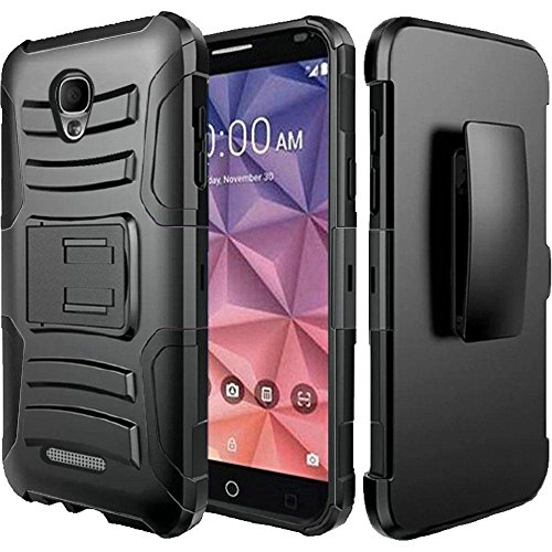 Alcatel Verso / Alcatel idealXCITE / Alcatel CameoX / Alcatel Raven LT Case Holster Combo - Armatus Gear (TM) Tactical Hybrid Armor Case with Holster Belt Clip - All Black