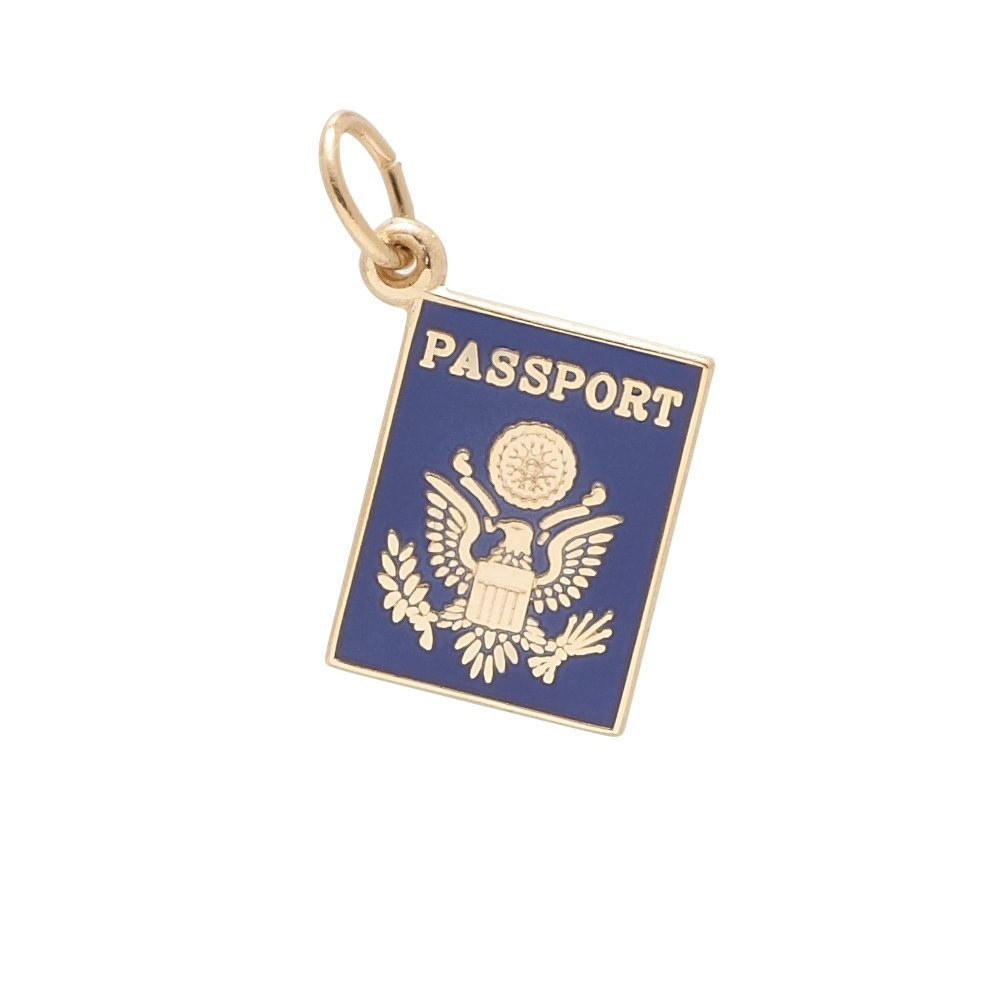 Rembrandt Charms, Blue Passport, 14k Yellow Gold, Engravable by Rembrandt Charms