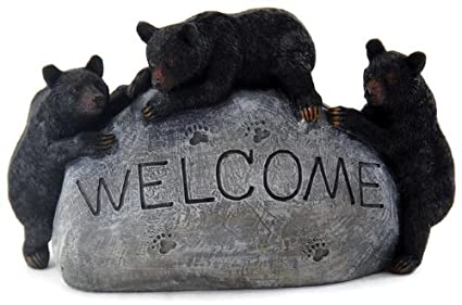 Genial 3 Black Bears Welcome Patio Garden Statue Yard Decor