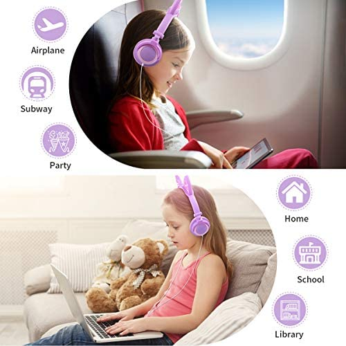 Kids Headphones, Boys Girls Teens Foldable Adjustable Wired On-Ear Headset 3.5mm Audio Jack Stereo Tangle-Free, 85 dB Volume Limited Childrens Headphones for School Home, Travel (Purple)