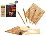 Bamboo Sushi Kit, Carbonized Rolling Mats for Mold-Resistant, Included 2 Rolling Mats - 5 Pairs...
