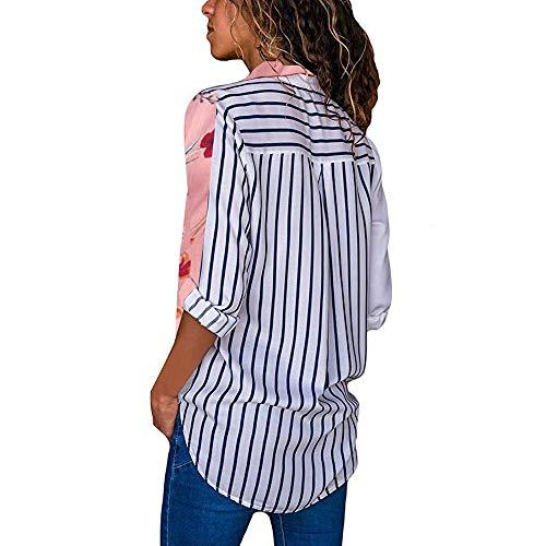 Femme Col Pink Longues Chemisier Chemise V YUYOUG Tops Unie Couleur Chemises Femme Blouse lgant Manches Chic Fluide ax4nIwOqz