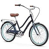 sixthreezero EVRYjourney Women's 3-Speed Step-Through Hybrid Alloy Cruiser Bicycle, Navy w/Brown Seat/Grips, 24' Wheels/ 14' Frame