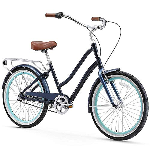 sixthreezero EVRYjourney Women's 3-Speed Step-Through Hybrid Cruiser Bicycle, Navy w/Brown Seat/Grips, 24
