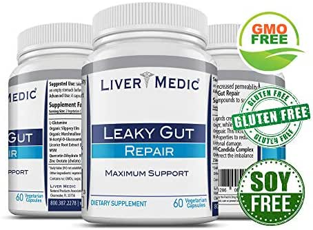 Leaky Gut Repair Supplements by Liver Medic | Gut Healing Support. for Relief of Heartburn. Bloating, Gas, Constipation, Diverticulitis, SIBO. Contains L-Glutamine, Slippery Elm, Zinc, NAG