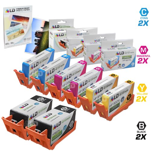 LD © Remanufactured Replacement for HP 920XL / 920 Ink Cartridges: 2 CD975AN Blk, 2 CD972AN Cyan, 2 CD973AN Magenta & 2 CD974AN Yellow for OfficeJet 6000, 6500, 7000 & 7500a + FREE Photo Paper