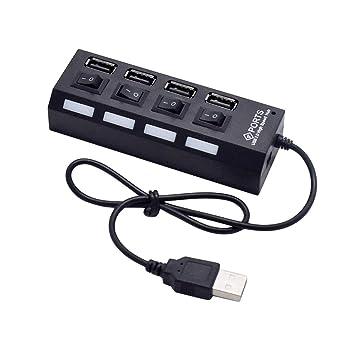 Uonlytech Separador Independiente USB 2.0 de 4 enchufes USB HUB (Negro): Amazon.es: Electrónica