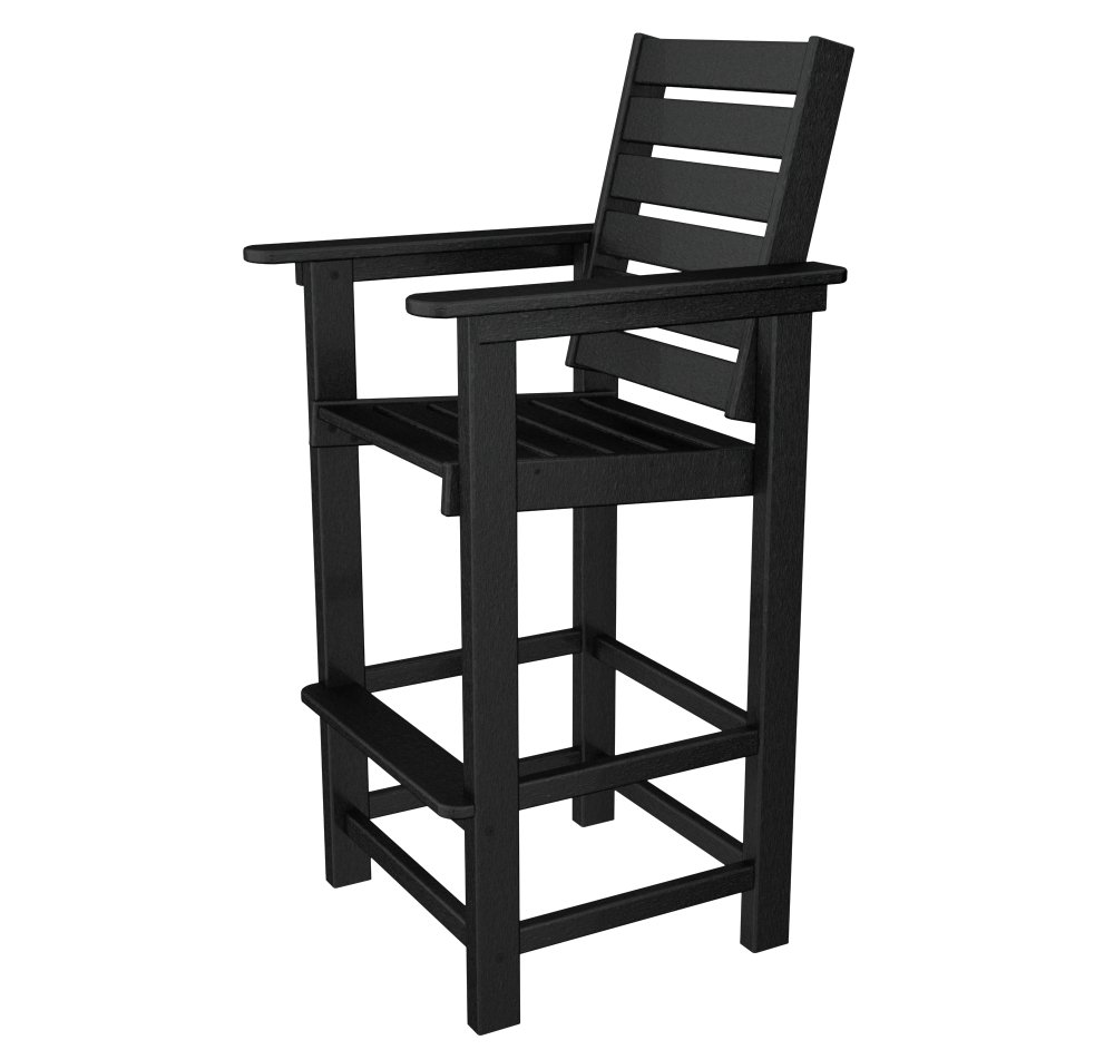POLYWOOD CCB30BL Captain Bar Chair, Black