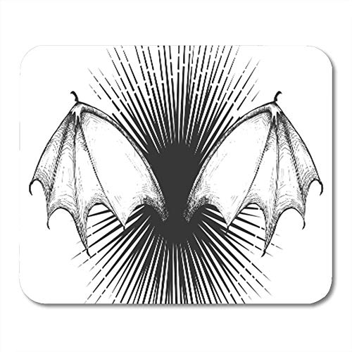 Gaming Mouse Pad Monster Vampire Demon Bat Wings Horrible Divergent Rays Halloween in Vintage 7.18.7 Inches Decor Office Computer Accessories Nonslip Rubber Backing Mousepad Mouse Mat -