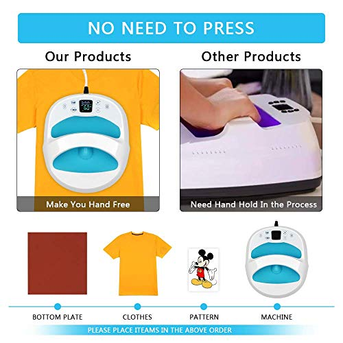 """Weanas Easy Heat Press Machine for T Shirts Portable 12""""×10"""" Hand Free Heat Press Sublimation Machine for HTV Vinly Projects and Ironing Machine with Heat Press Mat for T Shirts"""