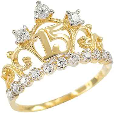 14k Yellow Gold CZ-Studded Crown Sweet 15 Anos Quinceanera Ring