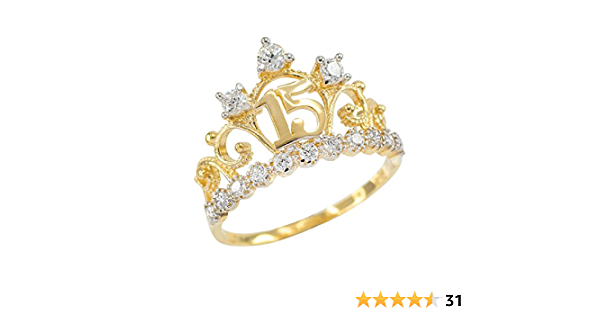 10K Yellow Gold 15 Anos Quinceanera Amethyst CZ Crown Rings 2 Styles