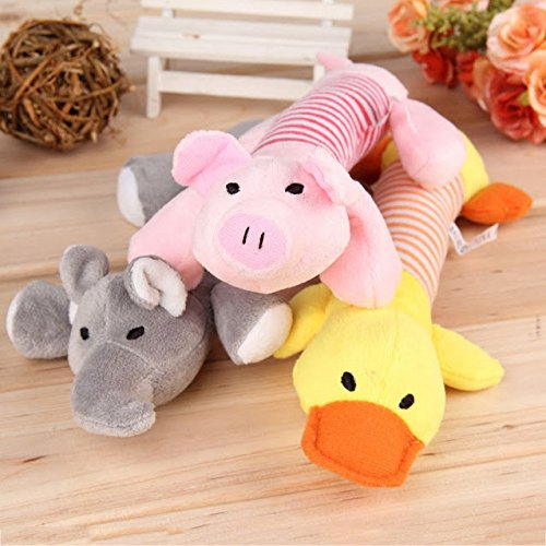 3x Dog Toys Pet Puppy Chew Squeaker Squeaky Plush Sound Duck Pig & (Happy Junkyard Puppy)