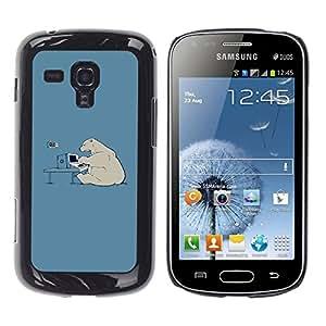 QCASE / Samsung Galaxy S Duos S7562 / arte polar técnico informático oso calentamiento global / Delgado Negro Plástico caso cubierta Shell Armor Funda Case Cover