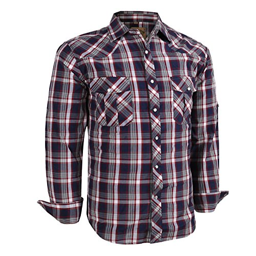Coevals Club Men's Long Sleeve Casual Western Plaid Snap Buttons Shirt (2XL,3#red,grey)