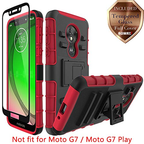 (Moto G7 Power Case, Moto G7 Supra Case, Aoways Tempered Glass Screen Protector, Heavy Duty Hard PC Back Cover Soft TPU Inner Shockproof Kickstand Protective Case for Motorola Moto G7 Power - Red)