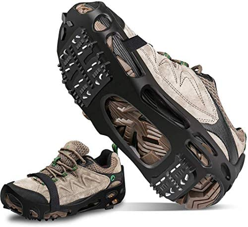 DWS Ice Cleats Walk Traction Cleat 24 Non-Slip Over Shoe Rubber Snow Stretch Footwear for Walking on Snow and Ice