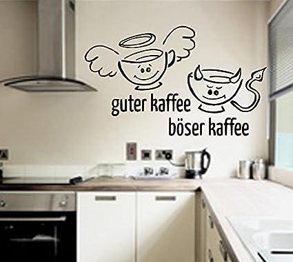 Wandtattoo Küche Guter Kaffee,böser Kaffee Wallsticker (Schwarz, 60cm x  40cm)