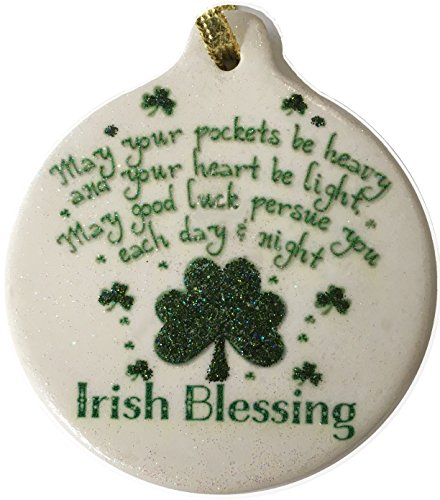 Irish Blessing Porcelain Ornament Rhinestone Celtic Pride Shamrock Good (Blessing Cross Ornament)