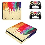 Chickwin PS4 Slim Vinyl Skin Full Body Cover Sticker Decal For Sony Playstation 4 Slim Console & 2 Dualshock Controller Skins (Color Paint)