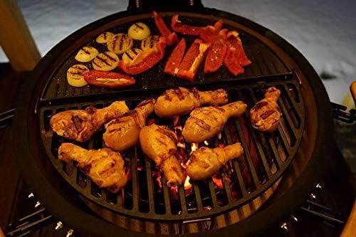 YNNI KAMADO TQ23CRP Grille de Barbecue en Fonte à Fente Demi-Lune 49,5 cm 3,5 kg