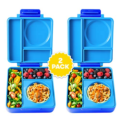 OmieBox Bento Lunch Box for Hot & Cold Food | 3 Compartments, Two Temperature Zones + Thermos Food Jar for Kids - Leak-Proof and Insulated - (Blue Sky) (2 Pack)