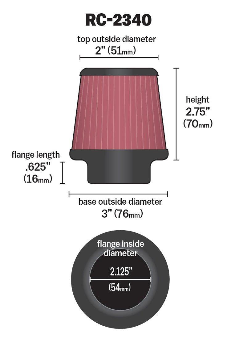 K/&N RC-2340 KFZ und Motorrad Universal Chrom Filter