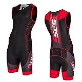 SLS3 Mens CMX Triathlon Tri Race Suit - 1 Pocket Skinsuit Trisuit - great from Sprint to Ironman (Black/Red, L)