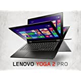 "Lenovo Yoga 2 Pro Convertible Ultrabook Tablet - Intel Core i7-4500U, 512GB SSD HDD, 8GB RAM, 13.3"" QHD+ 3200x1800 Touchscreen, Intel HD4400 Graphics, Intel 7260-N WiFi, Bluetooth, HD Webcam, USB 3.0, Backlit Keyboard, Windows 8.1 Pro (Silver Grey)"