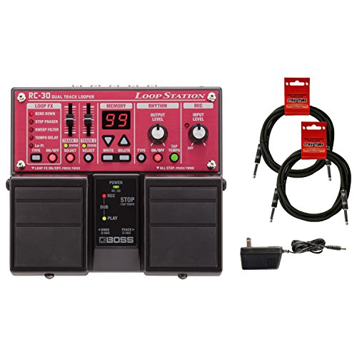 BOSS RC-30 Loop Station Bundle with Blucoil Slim 9V 670ma Power Supply AC Adapter, and 2-Pack of 10-FT Mono Instrument Cables (Boss Rc 30 Dual Track Looper Loop Station)