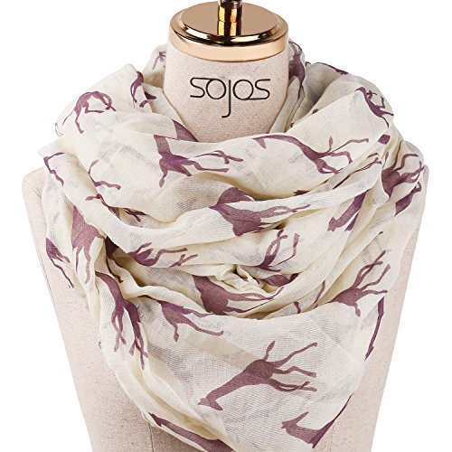 SOJOS Womens Fashion Pattern Premium Soft Lightweight Loop Infinity Scarf SC311 With Beige Giraffe