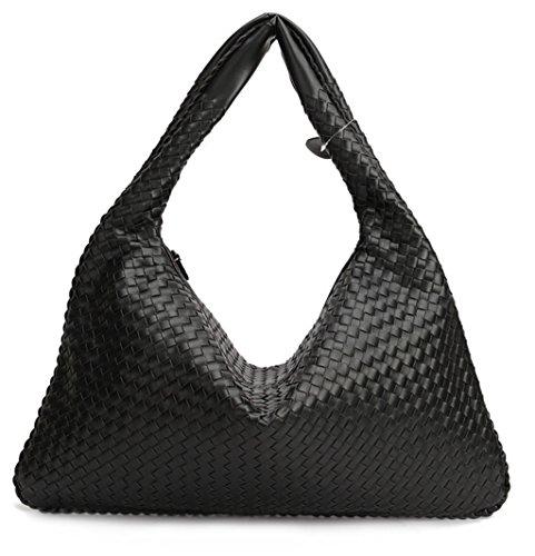 Color Shoulder woven Handbags Black Bag Fashion Woven Bag Leather Black Hand fw6YB